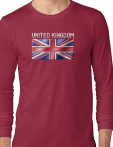 United Kingdom - British Flag & Text - Metallic Long Sleeve T-Shirt