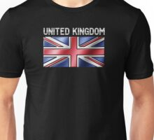 United Kingdom - British Flag & Text - Metallic Unisex T-Shirt