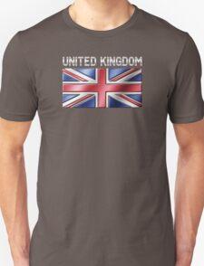 United Kingdom - British Flag & Text - Metallic Unisex T-Shirt