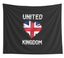 United Kingdom - British Flag Heart & Text - Metallic Wall Tapestry