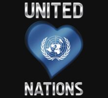 United Nations - Flag Heart & Text - Metallic Kids Clothes