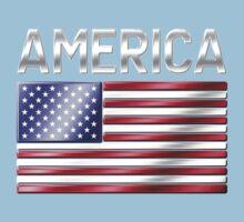 America - American Flag & Text - Metallic Kids Tee