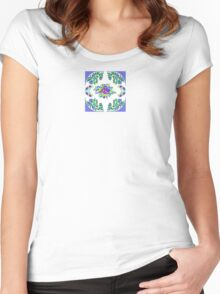 Smart in Sweet floral Cornflower and White Women's Fitted Scoop T-Shirt