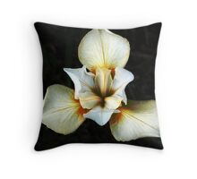 White with Red Iris Throw Pillow