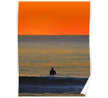 Waiting for the Sun, a lone surfer  Poster