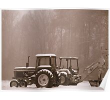 Tractors in the snow Poster