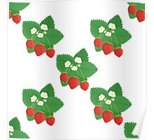 Seamless Pattern of Strawberries with Leaves and Flowers Poster
