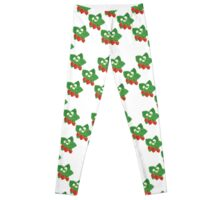 Seamless Pattern of Strawberries with Leaves and Flowers Leggings