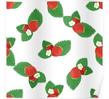 Strawberries with Leaves and Flowers Poster