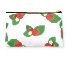 Strawberries with Leaves and Flowers Studio Pouch