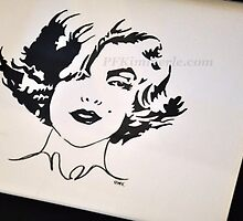 Marilyn Monroe Posh (watercolor) by Patricia Kimmerle