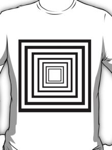 Black and White Concentric Squares T-Shirt