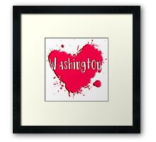 Washington Splash Heart Washington Framed Print