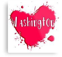 Washington Splash Heart Washington Metal Print