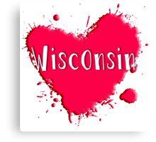 Wisconsin Splash Heart Wisconsin Canvas Print