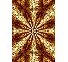Gold Brown Sun Earth Eight Rays Kaleidoscope  Photographic Print