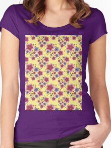 pink and blue flowers on yellow Women's Fitted Scoop T-Shirt