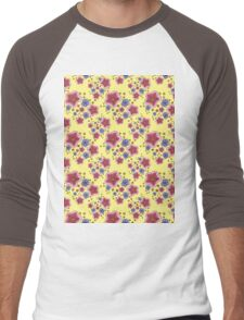 pink and blue flowers on yellow Men's Baseball ¾ T-Shirt