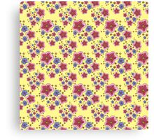 pink and blue flowers on yellow Canvas Print