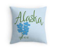 Alaska State Flower Forget Me Not Throw Pillow