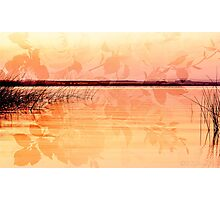 Lake reflections in orange colors Photographic Print