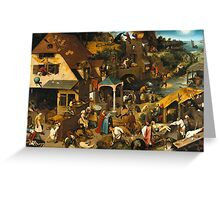 Netherlandish Proverbs - Pieter Bruegel the Elder Greeting Card