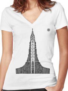 Hallgrimskirkja (Icelandic Cathedral) Women's Fitted V-Neck T-Shirt