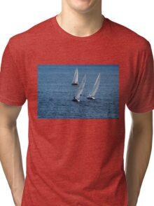 Into The Wind - Crisp White Sails On a Caribbean Blue Tri-blend T-Shirt