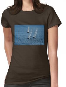 Into The Wind - Crisp White Sails On a Caribbean Blue Womens Fitted T-Shirt