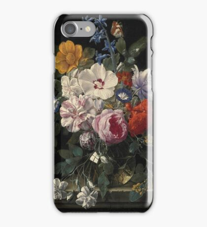 Nicolaes van Veerendael - Flowers in a glass vase, butterfly and beetle on a stone ledge (17th century) iPhone Case/Skin
