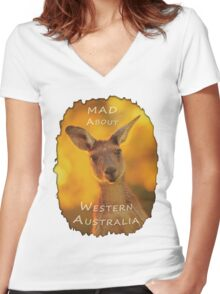 Kangaroo - MAD About Western Australia Women's Fitted V-Neck T-Shirt
