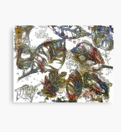 Leaves 17 Mixed Media - Ink on Acrylic Monoprint Canvas Print