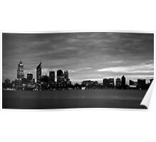 city skyline in black and white Poster