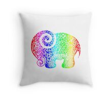 Rainbow Elephant Doodle Throw Pillow