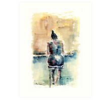 Woman on a Barstool Art Print