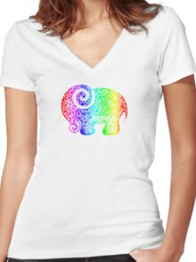Rainbow Elephant Doodle Women's Fitted V-Neck T-Shirt