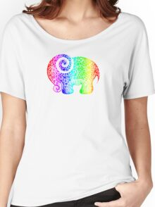 Rainbow Elephant Doodle Women's Relaxed Fit T-Shirt
