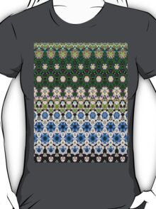 Abstract ethnic floral stripe pattern white blue green T-Shirt
