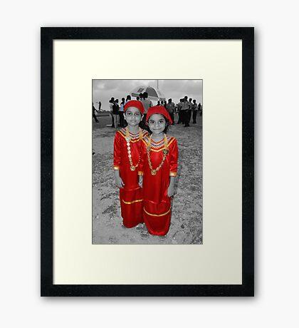 Girls in Red. Framed Print