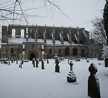 Malmesbury Abbey in the Snow by Iani