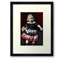 Vintage Civil War Girl With Flag Framed Print