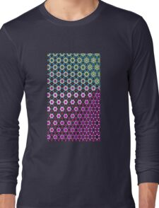 Abstract bright floral geometric pattern teal pink white Long Sleeve T-Shirt