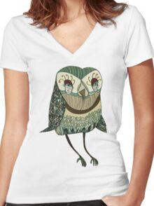 My Garden Owl Women's Fitted V-Neck T-Shirt