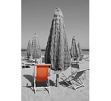 Orange Beach Chair Photographic Print