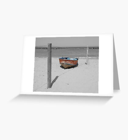 Red and Blue Boat on Beach Greeting Card