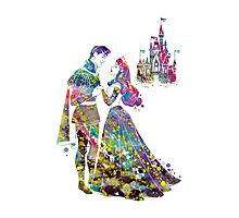 Sleeping Beauty Aurora Disney Princess and Disney Castle Watercolor Photographic Print