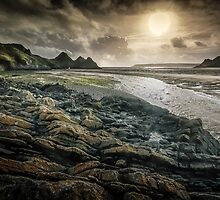 Moody Three Cliffs Bay Gower by Leighton Collins