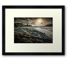 Moody Three Cliffs Bay Gower Framed Print