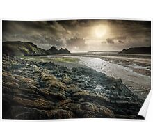 Moody Three Cliffs Bay Gower Poster