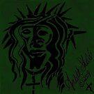 Dark Green Jesus doooooodle in black ink and green by RealPainter